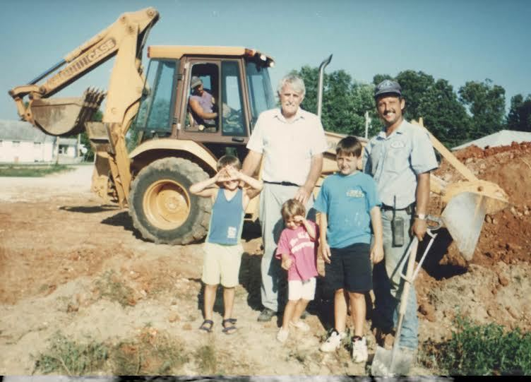 Young Brosseau kids on the job site